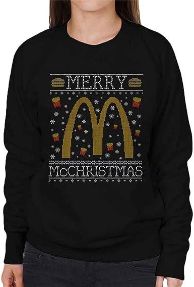 Coto7 Merry McChristmas McDonalds Christmas Knit Pattern Women's Sweatshirt