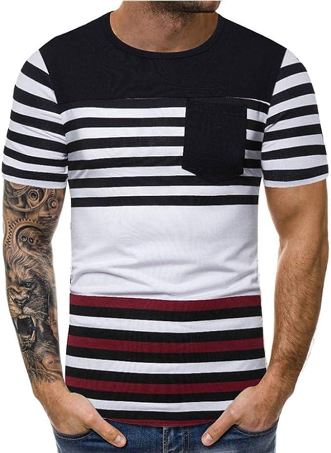 UJUNAOR Maglietta A Maniche Corte Uomo,T-Shirt da Uomo a Manica Corta Estiva a Righe,S//M//L//XL//XXL