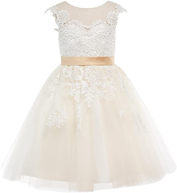 Miama Champagne Lace Tulle Wedding Flower Girl Dress Junior Bridesmaid Dress
