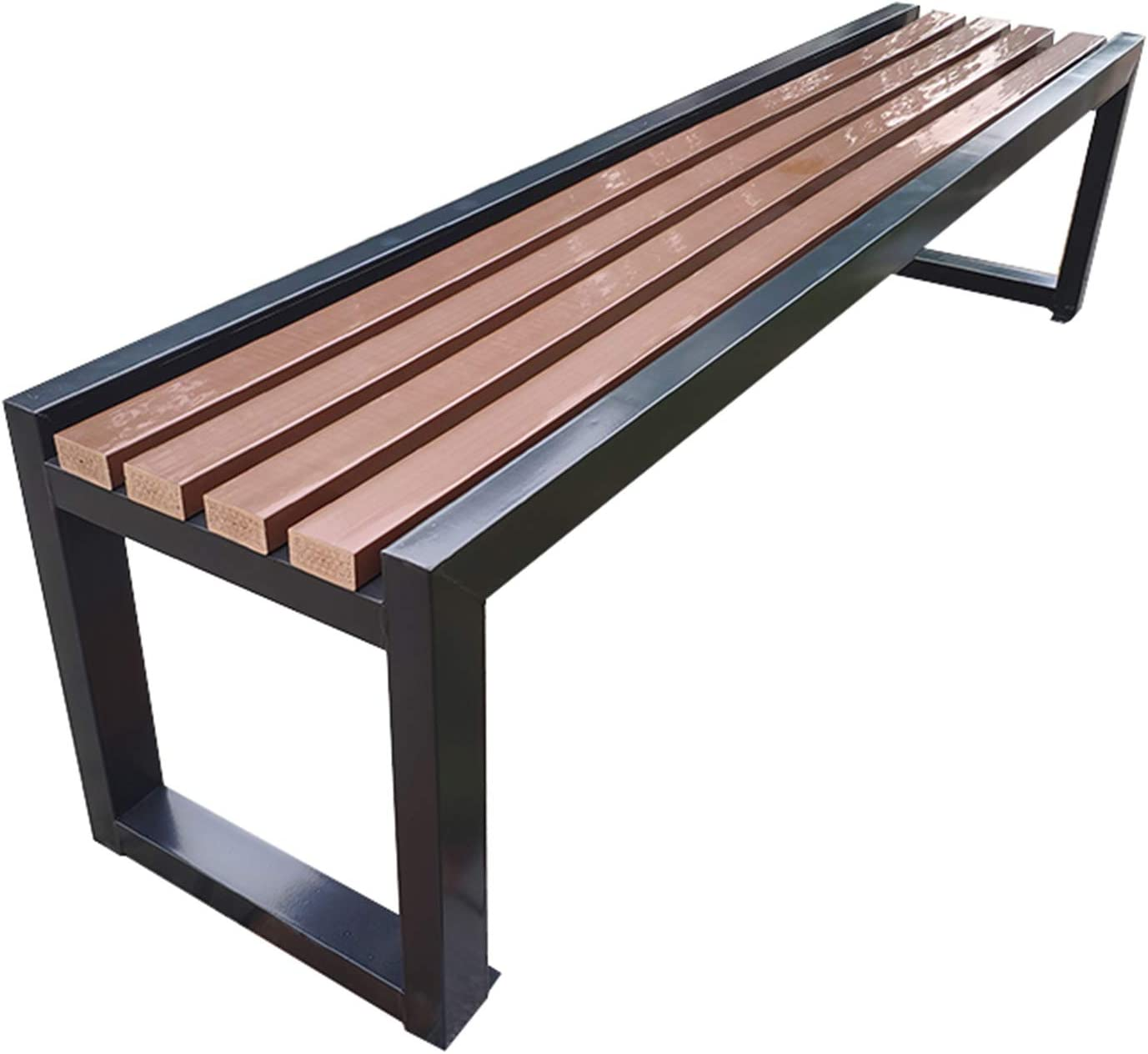 Outdoor Terrace Garden Bench Park Bench, 3-Seater Weather-Resistant Porch Chair with backrest, Steel Frame and anticorrosive Solid Wood slatted Seats, The Perfect Furniture Outdoors