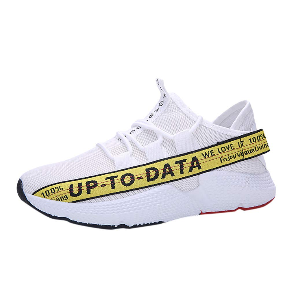 Caopixx Men's Sneakers Outdoor Mesh Breathable Running Shoes Gym Shoes Casual Shoes Yellow