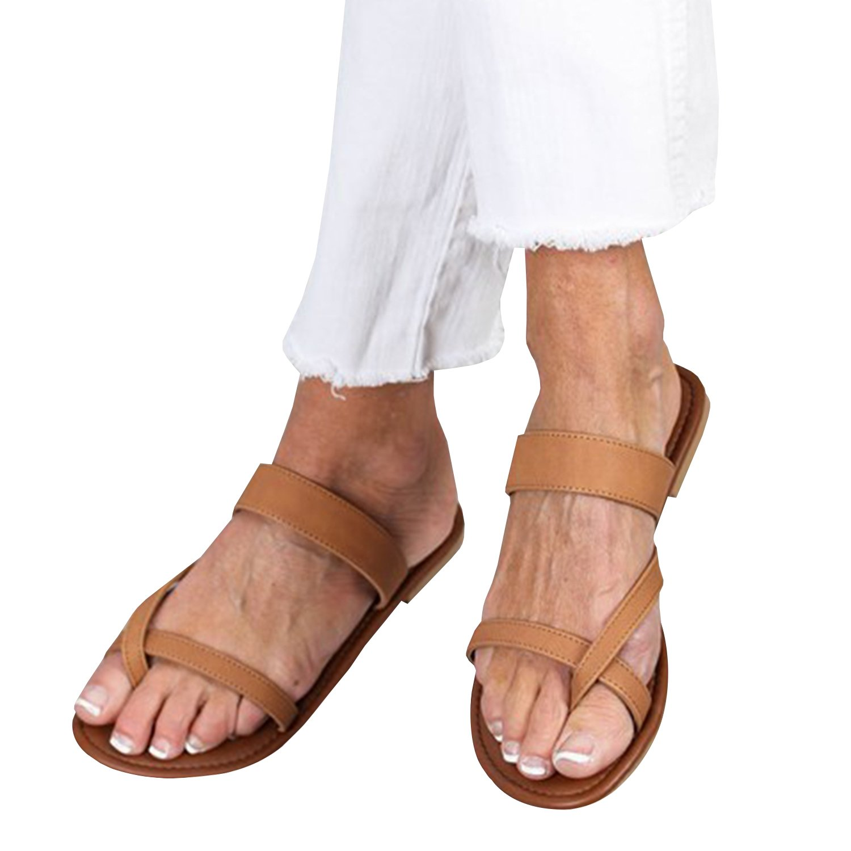 Outgobuy Damen Leder Thong Flache Ferse Sommer Sandalen Handgefertigt in Griechenland Flip Flops  35 EU|Khaki
