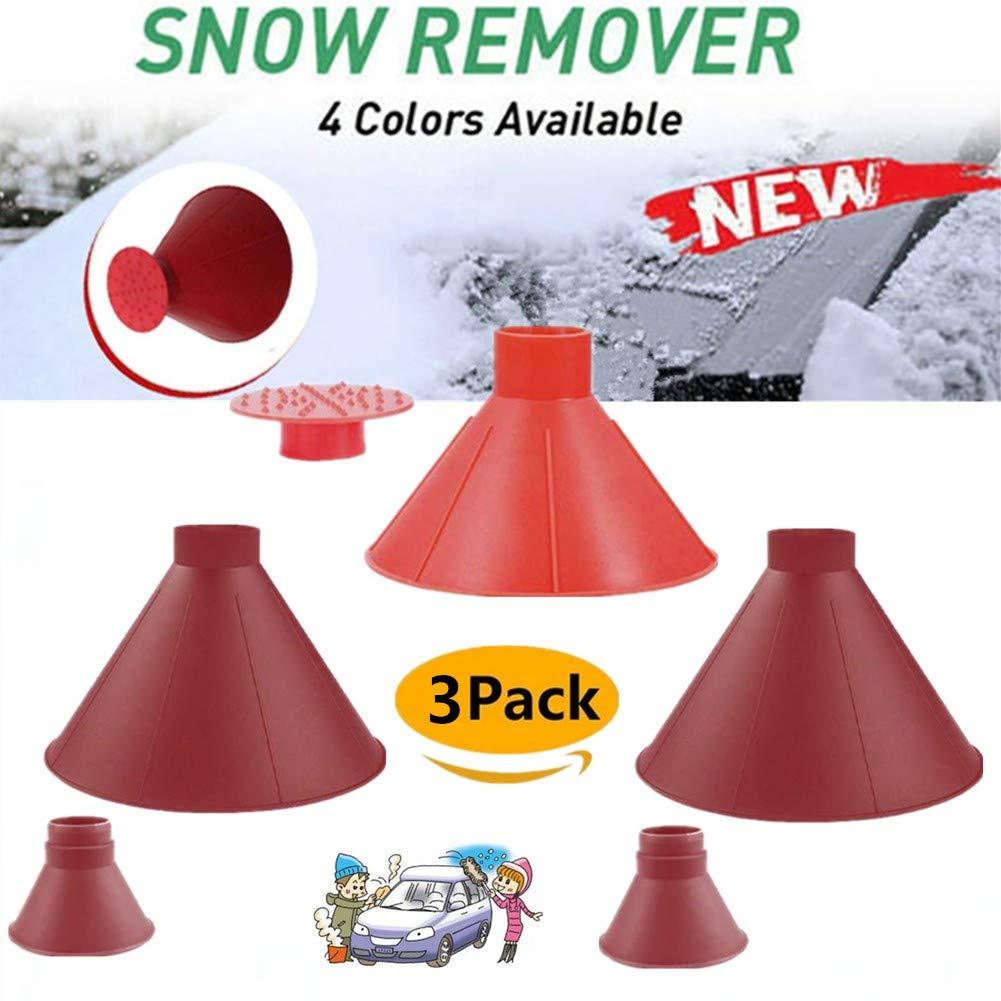 Boscoraggio Magic Scraper Round - Ice Scrapers Magic Funnel Snow Removal Tool Windshield Cone-Shaped Car (Red-3Pack-2) by Boscoraggio