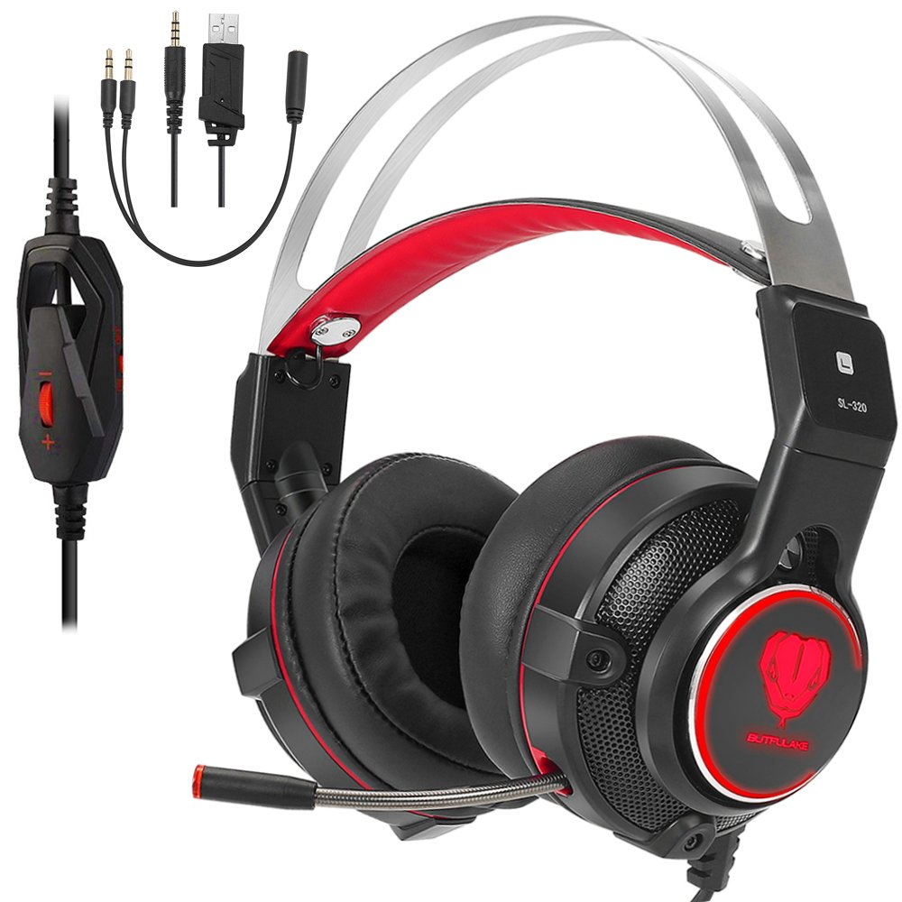 Gaming Headset for Xbox One, PS4, 3.5mm Over-Ear Headphone with Mic and Volume Control for PC Red