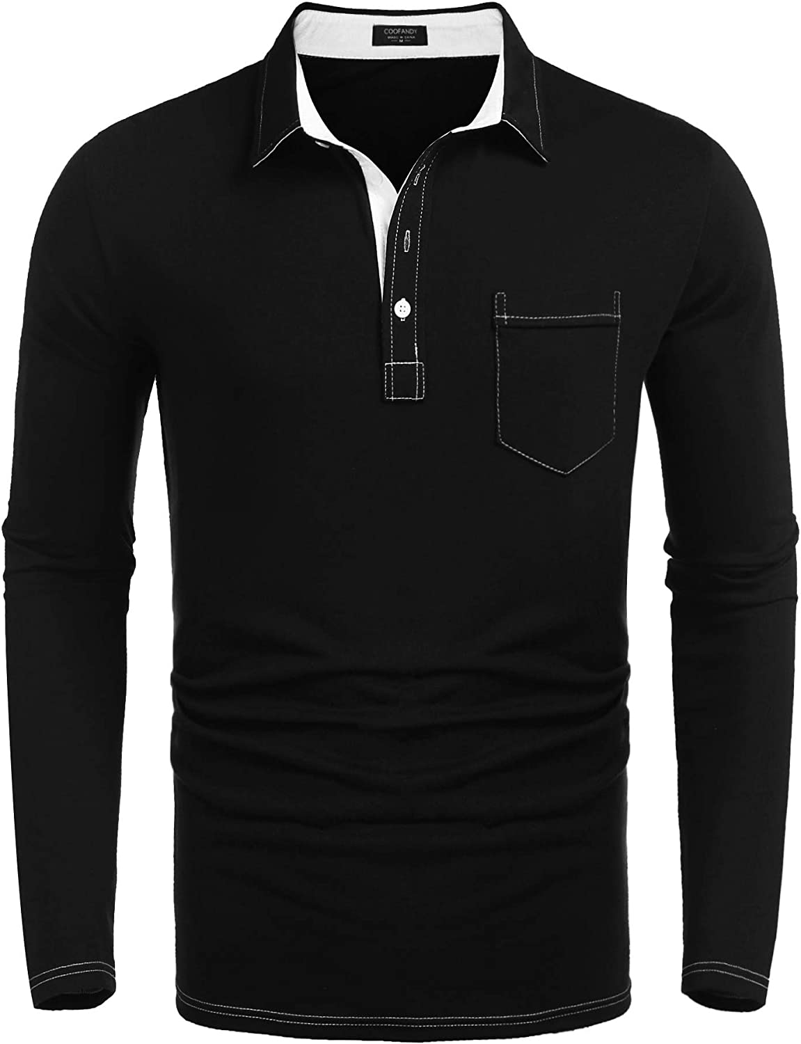 COOFANDY Mens Casual Polo Shirts with Pocktes Regular Fit Contrast Color Collar Sport Polo T-Shirts