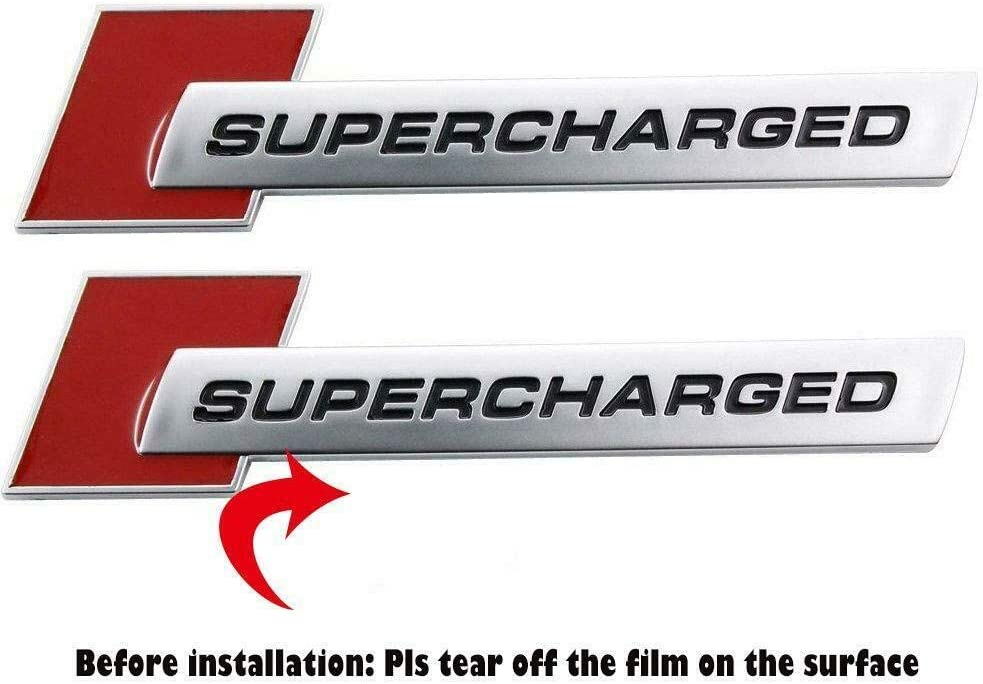 Black Red 2x Metal Supercharged Engine Emblem Sticker Badge Replacement for Universal Cars