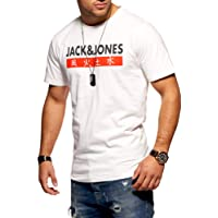Jack & Jones T-Shirt Homme Manches Courtes Imprimé Shirt Top Haut Coton Tendance