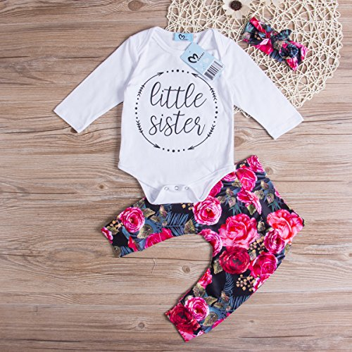 Baby Girls Little Sister Bodysuit Tops Floral Pants Bowknot Headband Outfits Set, White (0-6 Months) by Ma&Baby (Image #1)
