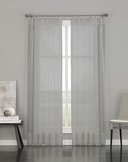 Curtainworks Soho Voile Sheer Pinch Pleat Curtain Panel, 29 by 144 , Silver