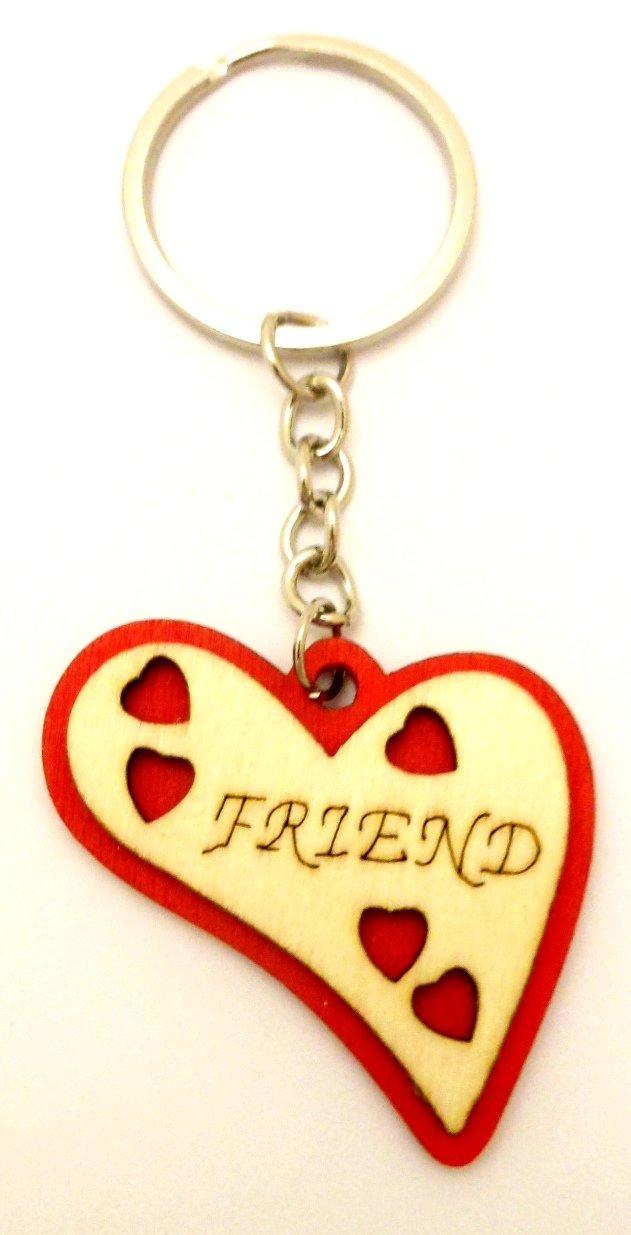 Amazon.com: Unisex de corazón rojo de madera llavero moda ...