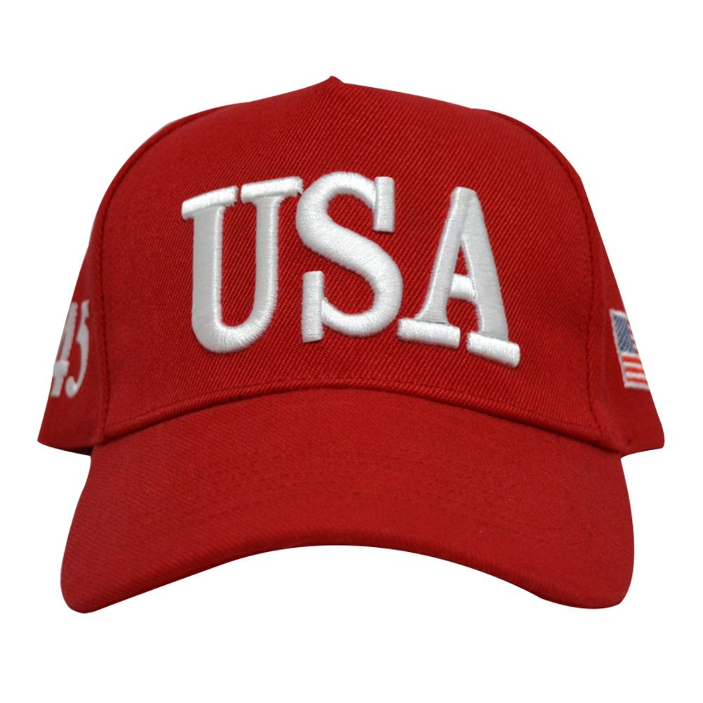 9f805be2eed Amazon.com   E-dance USA 45th President Donald Trump Make America Great  Again 2020 USA Cap Adjustable Baseball Hat (Black)   Sports   Outdoors