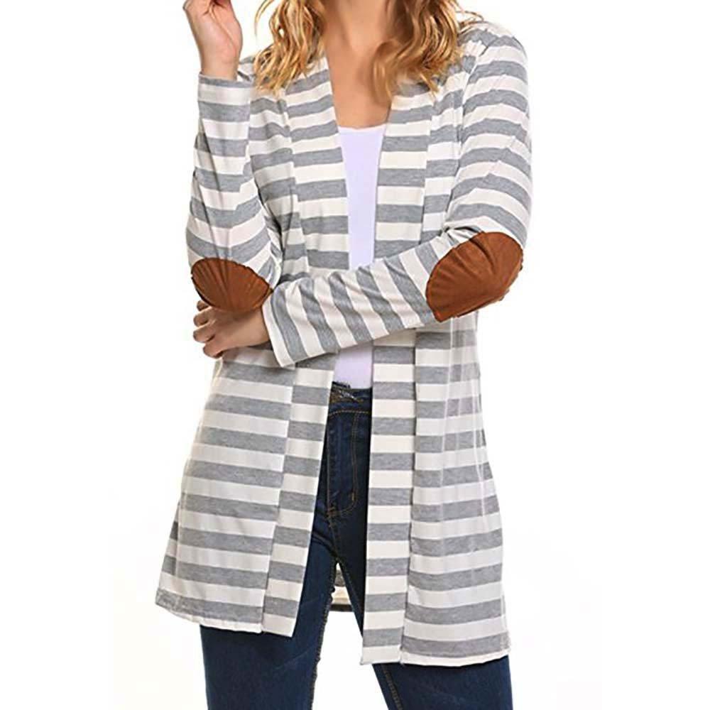 INNEROSE ❤ Cappotto Capispalla Felpe Giacca, Donna Manica Lunga Casual Oversize Cardigan a Righe Patchwork Outwear Il Cappotto