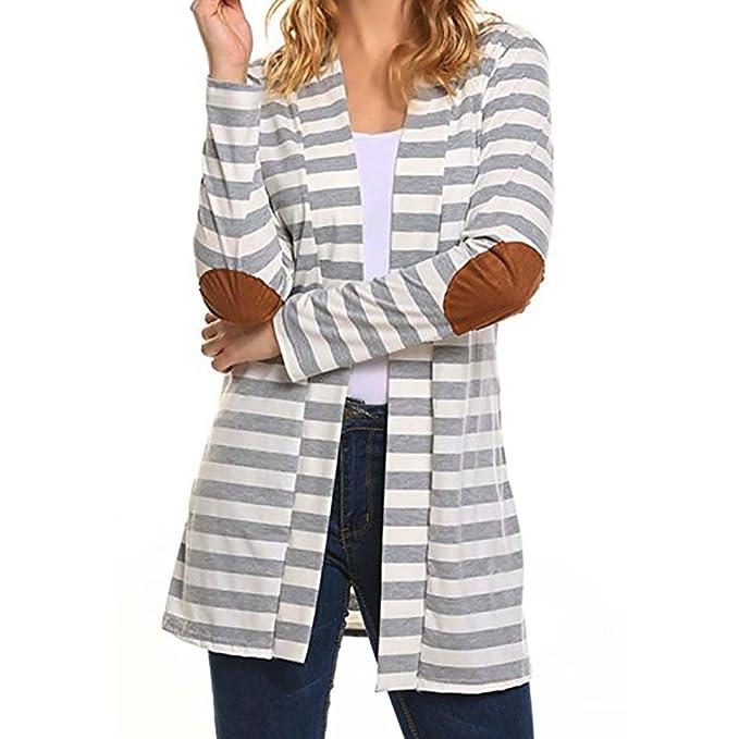 ce5a856b3ef34 VEMOW Herbst Elegante Damen Frauen Casual Tägliche Lose Langarm Übergroßen  Gestreiften Strickjacken Outdoors Patchwork Outwear Mantel
