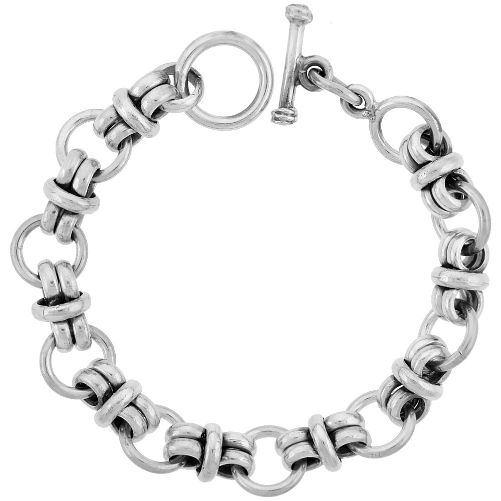 Sterling Silver Circles Link Bracelet Toggle Clasp Handmade 1/2 inch wide, 8 inch long