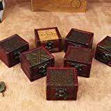 856store Exquisite Vintage Small Jewelry Earring Necklace Storage Wooden Case Box Holder Container
