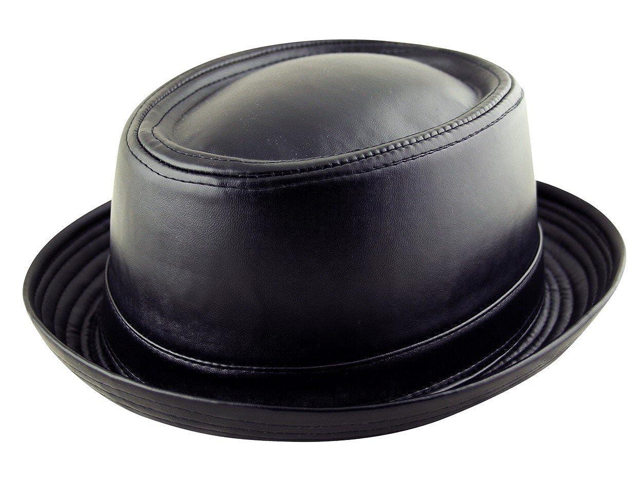 Breaking Bad Heisenberg Style Black Adult Pork Pie Trilby Fedora Faux Leather Hat Band Unisex