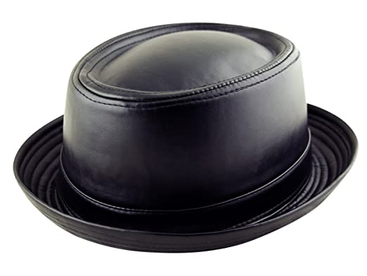 40a07d11 Adult Pork Pie Trilby Fedora Faux Leather Hat Band Unisex (Breaking Bad  Heisenberg Style)
