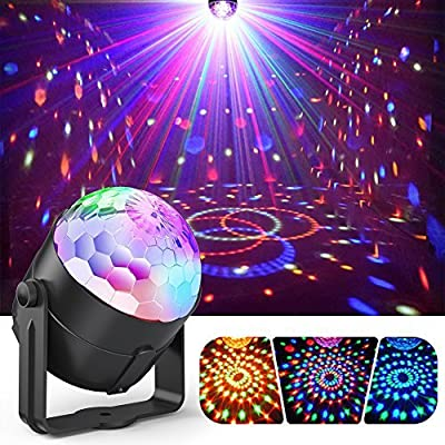 Party Ball Lights, Gvoo 5W RGB LED Sound Activated Rotating Crystal DJ Disco Lights Stage Lights with Remote Control for Party, KTV, Wedding, Bar and Celebration