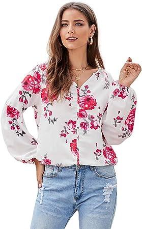 RENJIANFENG Blusas para Mujer, Manga De Globo Camisa Estampada Floral Top con Cuello En V Blusa Boho Botón Holgado De Manga Larga Camiseta Casual Blusas Tops,Rojo,XL: Amazon.es: Hogar
