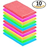 DecorRack 10 Pack 100% Cotton Bar Mop, 16 x 19 inch, Ultra Absorbent, Heavy Duty Kitchen Cleaning Towels, Spring Colors (10 Pack)