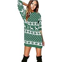 YTZL Kerstjurk voor dames, gebreide jurk met lange mouwen, elegante winterjurk, feestelijke mini-jurk, kersttrui…