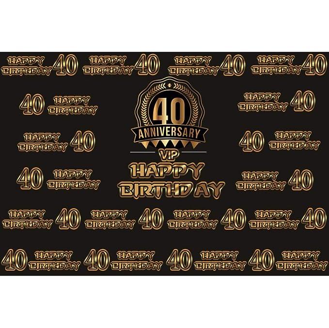 Cassisy 2,2x1,5m Vinilo Cumpleaños Telon de Fondo VIP Feliz cumpleaños 40 Aniversario Banner Carta De Oro Fondos para Fotografia Party Infantil Photo ...