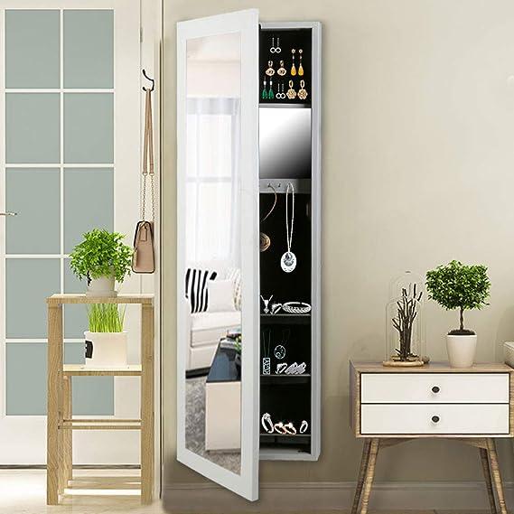 CCLIFE Joyero con espejo Montado en pared Colgado en Puerta y gran compartimiento para el almacenamiento Espejo Joyero de Pie con Espejo - color negro/blanco: Amazon.es: Hogar