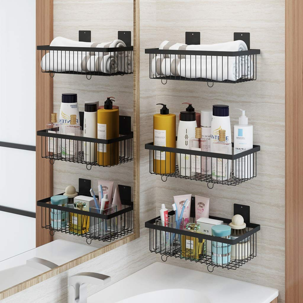 Bathroom Shelf/Wall Mount Spice Rack Organizer/Kitchen Hanging Rack Shelf Storage/Wall Mounted Stainless Steel Metal Basket/Wall Mount Storage Organizer/Kitchen, Pantry, Laundry (Color : Black) by YANQING