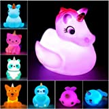 Jomyfant Unicorn Bath Toys Light Up Floating Rubber Toys(8 Packs),Flashing Color Changing Light in Water,Baby Infants Kids To
