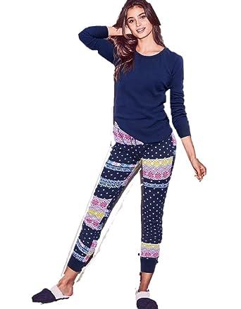 Victorias Secret Thermal Pajamas Fireside Long Jane Blue Fair Isle (Small)