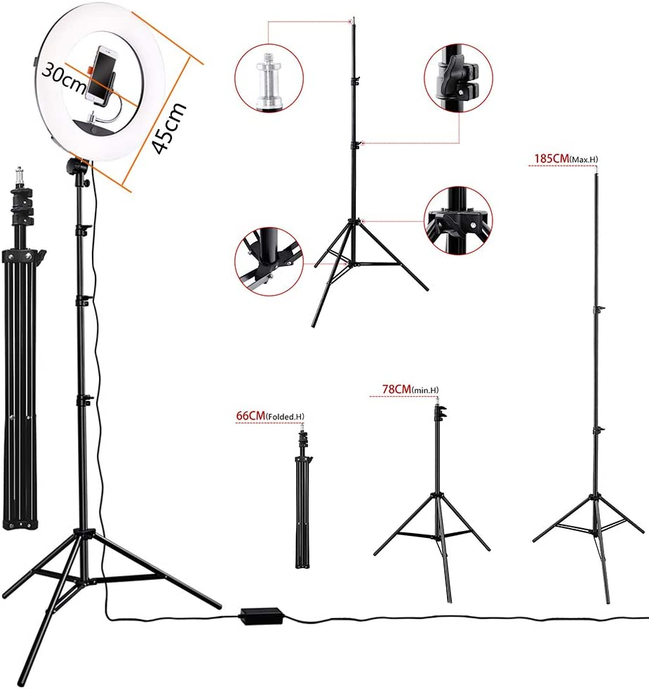 Ring light Kit 45cm Outer 96W 3200K-5500K Dimmable LED Fiash Light with Make-Up Mirror and Tripod for YouTube Camera Photo Video