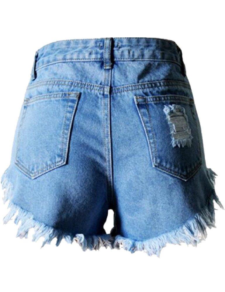 Haola Women's Juniors Denim High Waist Distressed Cutoff Shorts Blue L by Haola (Image #3)