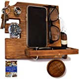 Peraco's Wooden Docking Station for Men and Nightstand Organizer - Holds Phone Keys, Watch, Wallet, Ring, Pen, Glasses…