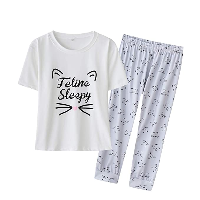 Amazon.com: YIJIU pijama de manga corta con estampado de ...