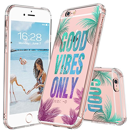 MOSNOVO iPhone 6S Plus Case/iPhone 6 Plus Clear Case, Good Vibes Only Tropica Leaves Quotes Clear Design Transparent Plastic Hard Back Case Cover with TPU Bumper for iPhone 6 Plus/iPhone 6S Plus -