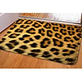HUGSIDEA Animal Print Entrance Floor Doormat Rectangle Soft Front Mat Leopard Rug for Bedroom Living Room Kitchen Bathroom