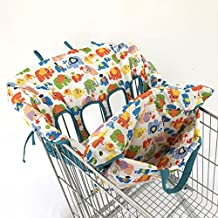 Twin Double Shopping Cart Cover for Baby Siblings 4 Leg Holes High Chair Trolley Pad Extra-Large Size- Elephant