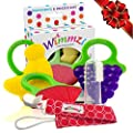 Teething Toys Set of 5 for Baby Infant & Toddler by Wimmzi | BPA-Free Freezer Safe Silicone Fruit Teethers + Pacifier / Teether Clip Holder + Finger Toothbrush Massager | Best Relief for Sore Gums by Wimmzi that we recomend personally.