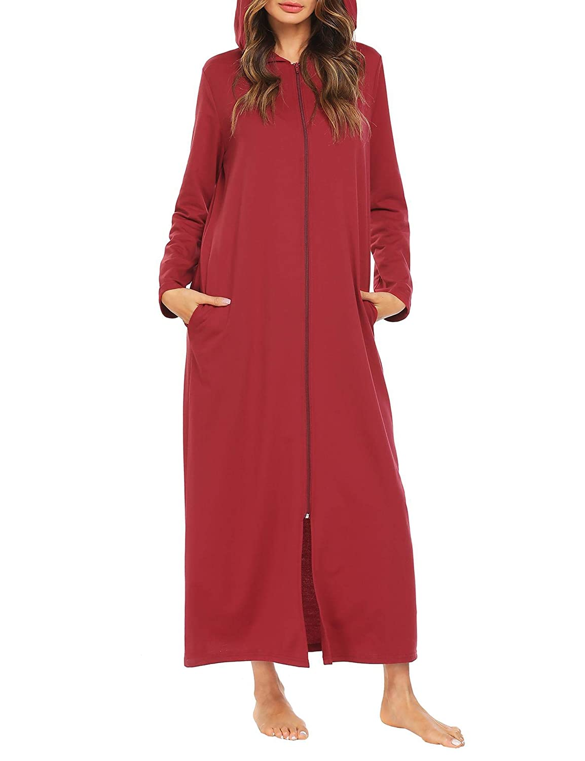 Aimage Women Plus Size Zip-Front Hooded Dresses Long Robe Sleepwear Nightdress