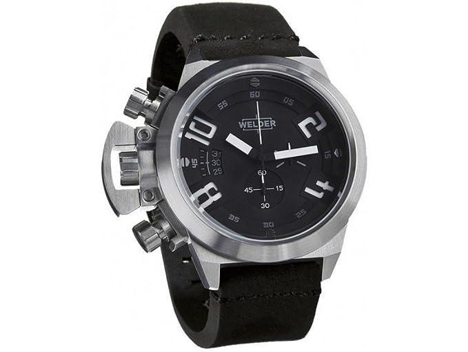 Cronógrafo de cuarzo para hombre-Reloj de soldador de piel K24 3203: Amazon.es: Relojes