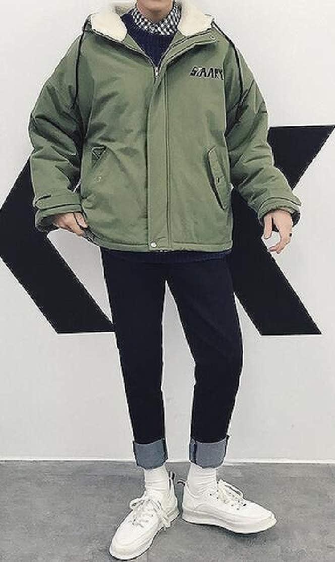 OTW Mens Thermal Thickened Hoodie Plus Size Loose Full Zip Down Coat Jacket Overcoat