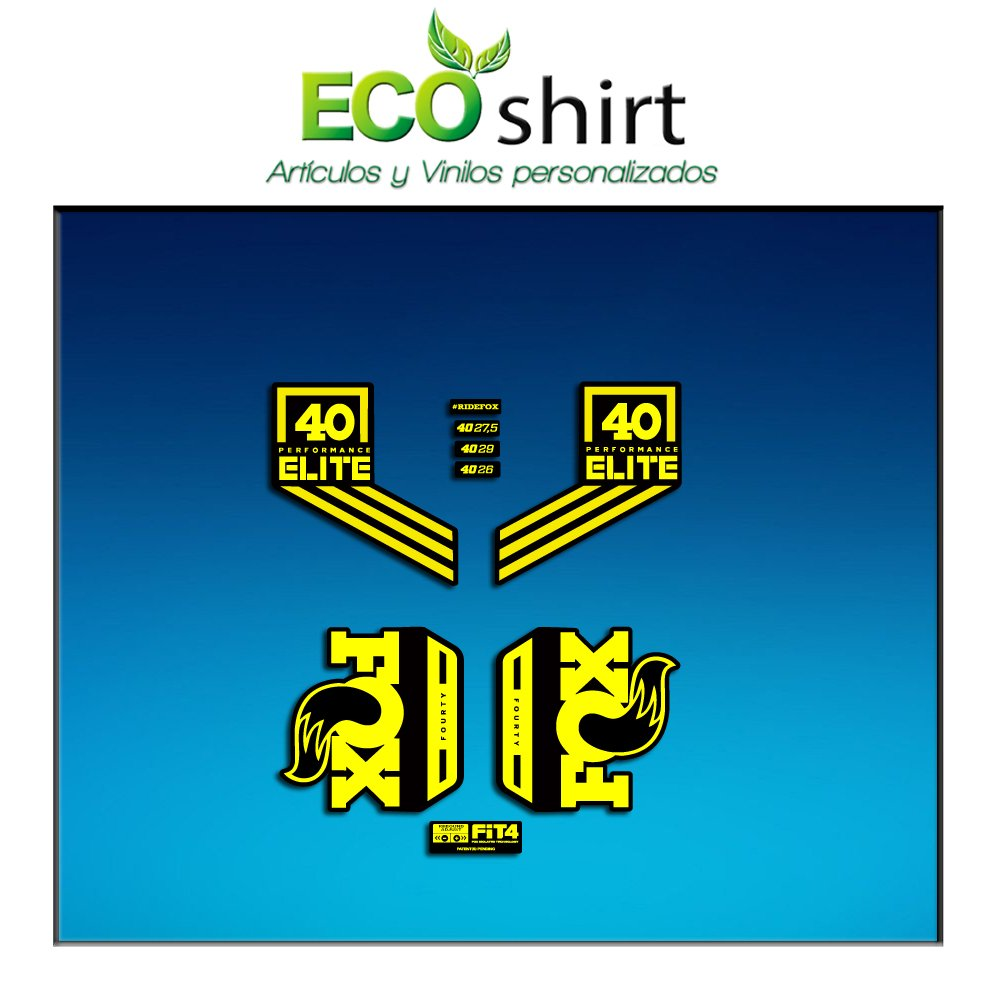 Ecoshirt JR-FCDM-L8QP Stickers Fork Fox 40 Performance Elite 2017 Am96 Aufkleber Decals Autocollants Adesivi Forcela Gabel Fourche Yellow