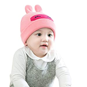Womail HOT Boys Girls Trendy Winter Warm Baby Beanie Cute Kids Toddler Knitted Hat (pink)