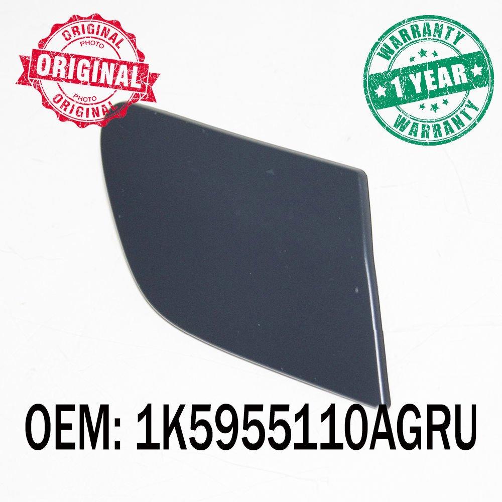 Black Front Right Bumper Headlight Washer Nozzle Cover Cap OEM 1K5955110AGRU Carjoy
