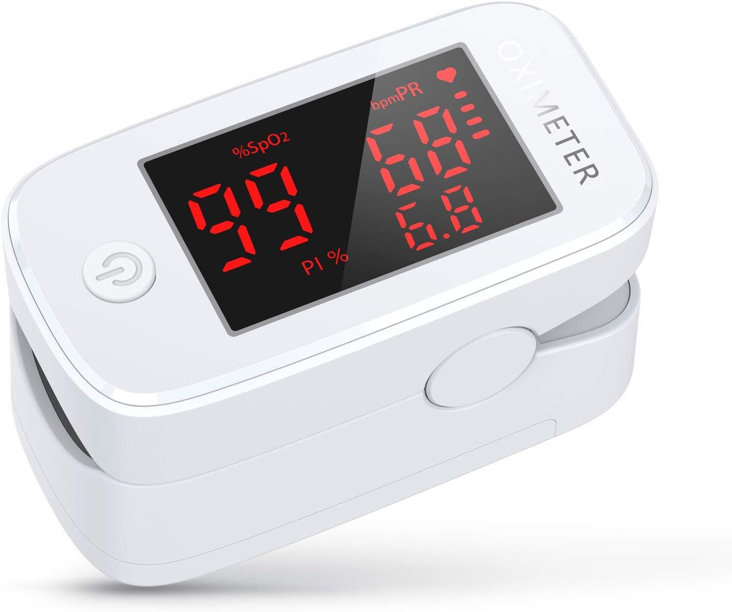 Oxímetro de Pulso KKmier Pulsioximetro de Dedo Profesional con Pantalla OLED y Pials, Oxímetro de medidor de SpO2, PR y PI Aplica para Adultos