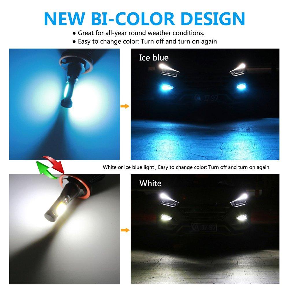 H4 Mesllin Fog Light H4 9003 HB2 Dual Colors LED Bright Fog Bulbs Lamp Replacement 40W 3030 SMD High Power Daytime Running Light DRL White Ice Blue Light 6000K//8000K