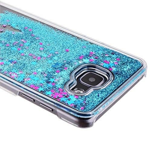 Funda Samsung A5 2016, CaseLover 3D Bling Bling Líquido Dinámico Arena Movediza Dura Carcasa Para Samsung Galaxy A5 2016 A510 (5.2 pulgadas) Glitter Estrellas Quicksand PC Plástic Claro Cristal Transp Azul