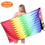 Sand Free Travel Beach Towel Blanket-Quick Fast Dry Super Absorbent Lightweight Thin Microfiber Towels for Pool Swimming Bath Camping Yoga Gym Zig Zag