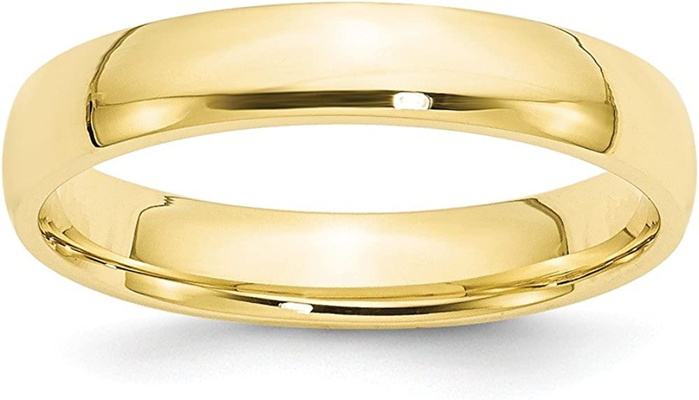 10k Yellow Gold 4mm LTW Comfort Fit Mens Womens Wedding Anniversary Band