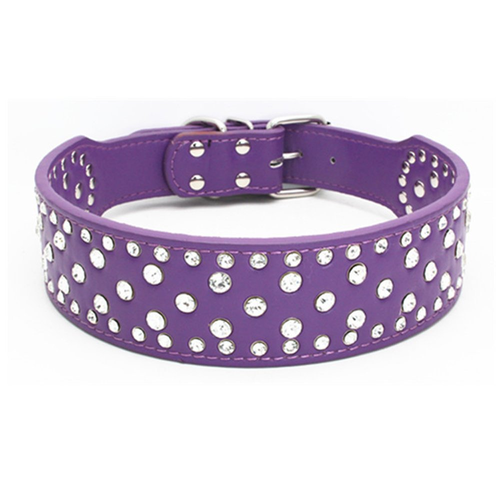 Dogs Kingdom 20''-26'' Length Fashion Jeweled Rhinestones Pet Dog Collars Sparkly Crystal Studded Leather Collar for Small Medium and Large Dogs Pitbull Purple L by Dogs Kingdom